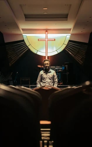 A youth pastor ready to deliver a sermon